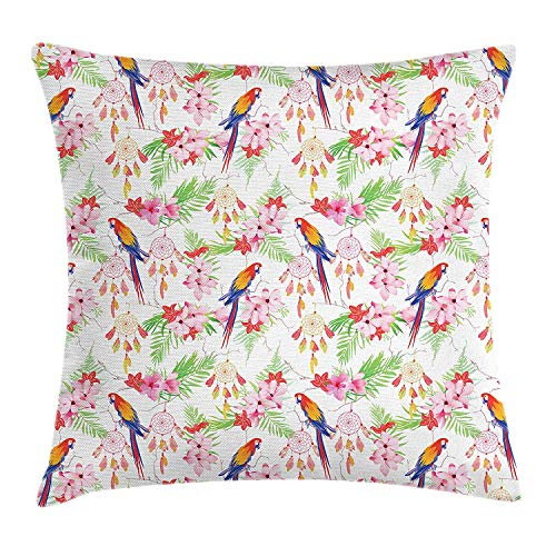 BBABYY Parrots Throw Pillow Cushion Cover, Exotic Forest with Birds and Dream Catchers Animal Imagery Hawaiian Nature Inspired, Decorative Square Accent Pillow Case,Multicolor 16x16inch (Bamboo Dream Catcher)