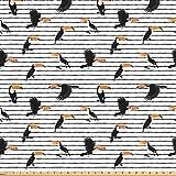 ABAKUHAUS Tropisch Stoff als Meterware, Exotische Vögel