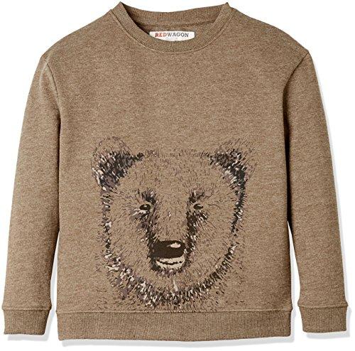 RED WAGON Jungen Sweatshirt mit Bären-Druck, Braun (Brown), 110 (Herstellergröße: 5 Jahre) (Shirt Baumwolle Braun)