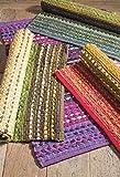 Namaste Grün Weiß Agra Baumwolle Stripe Teppich Fair Trade 60cm x 90cm