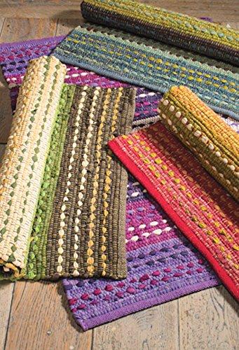 fair trade teppiche Namaste Grün Weiß Agra Baumwolle Stripe Teppich Fair Trade 60cm x 90cm