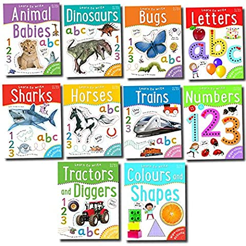 Learn to Write Letters, Numbers, Shape, Letter, Number Recognition, Educational, Miles Kelly 10 Wipe Clean Activity Books Includes Letters &