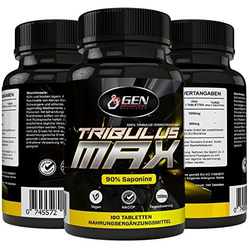 Tribulus Max - 180 Tabletten - 45 Tage Anwendung - 90% Saponin - 100% Tribulus Terrestris Extrakt - Natürlicher Testosterone Booster (Nahrungsergänzungsmittel Max)