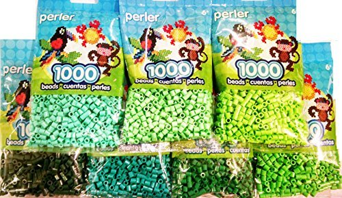 Perler Bead Bag, Green Group (Dark, Light, Pastel, Bright, Parrot Green, Evergreen, Kiwi Lime) by Perler -