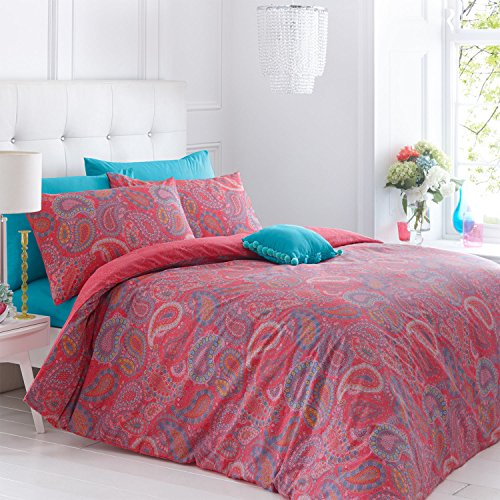 Pieridae Paisley Coral Duvet Cover & Pillowcase Set Bedding Digital Print Quilt Case Single Double King Bedding Bedroom Daybed (King) by Pieridae -
