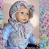 Baby- Set, bestehend aus Hütchen und Schal in zarten Pastellfarben, gehäkelt aus 100% Baumwolle