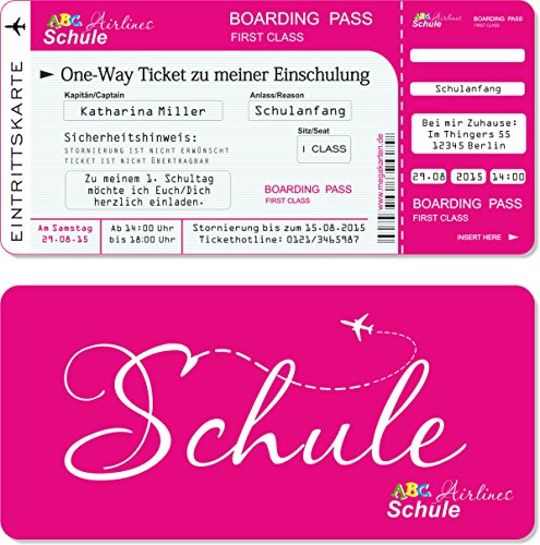 Einladungskarten Einschulung als Flugticket mit Abriss-Coupon, pink 10 Stück - 2