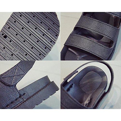 Mágicas Mulheres Leve Sapatos De Fundo Exposta Sandálias Preto Legal Autocolantes Eastlion Verão 1 Zeh Plano Praia Estilo 0d5qd