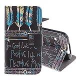 Pridot Hülle für Samsung Galaxy S5, Klassisch Illustration Entwurf Intelligentes Telefon Schutzhülle Prämie Flip Brieftasche Abdeckung mit Support Function Tasche - Positive Lebens