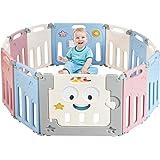 COSTWAY Baby grondbox, opvouwbaar babybox speelbox kinder activiteiten centrum met vergrendeling deur & anti-slip zuignap, bi