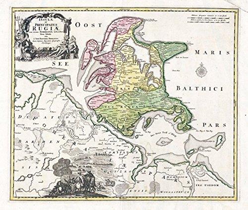 Insel Rügen (Karte der Inseln Rügen und Hiddensee: Faksimile-Nachdruck einer historischen Karte aus dem Jahr 1716)