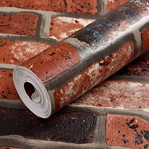 3D Wallpaper Brick Look - Brick Peel Und Stick Wallpaper -Red Brown Brick Contact Papier-Leicht Entfernbare Wasserdichte Tapete -Verwenden Sie Als Tapete Oder Regal Papier- (0,53 M × 10 M = 5,3 ㎡) (Brick Papier Red)