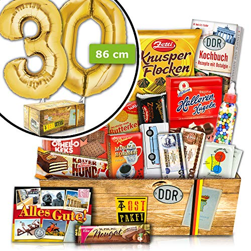 Zum 30. Geburtstag - INKL. FOLIENBALLON 30 Gold - Süße Ost Box
