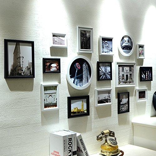 hjky Anbauwand Bilderrahmen aus Holz Composite Wall Bilder Wohnzimmer Wand Lavendel Kombination Creative Beitritt die Mauer Foto Unregelmäßige Black and White - Magnetische Bild Frame-8x10