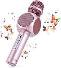 Microfono Karaoke Bluetooth Wireless Fede + Altoparlante Bluetooth con 2 Casse Incorporate, Karaoke Portatile per Cantare, Funzione Eco, Compatibile con Android/iOS, PC o smartphone
