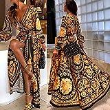 RoSoy Womens Boho V-Neck Printed Vestito Lungo Maxress Estivo per L'Estate