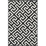 """Green Decore 150 x 240 cm """"Picket Fence"""" Alfombra Ecológica para Interiores y Exteriores de Plástico Reciclado - Ligera y Reversible - Indoor / Outdoor, Negro / Crema"""