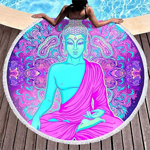 Toalla grande redonda de microfibra, toalla de playa Buda, mandala, toalla de playa, yoga, meditación, toalla de pared, manta de picnic, manta de playa 150 cm morado