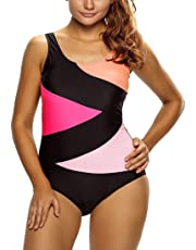 TheShoppingDiary Color Block Front Lace up One Piece Swimsuit