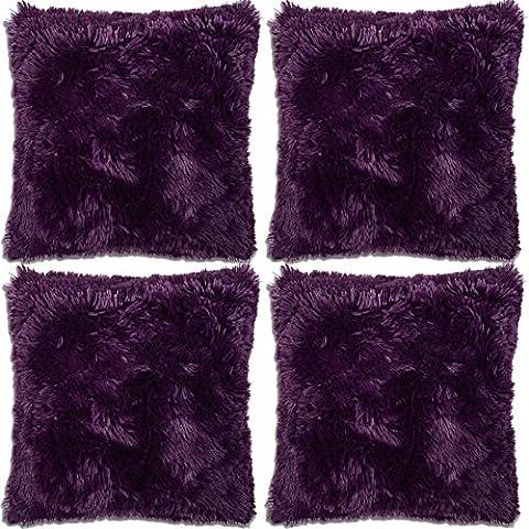 4x Housses de Coussin à Poil Super Doux, Fausse Fourrure 43x43 cm - Violet