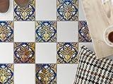 Fliesensticker Dekoraufkleber | Bodenfliesen-Aufkleber Folie Sticker Selbstklebend Küche renovieren Bad Deko Küche | 20x20 cm Muster Ornament Golden Twenties - 9 Stück
