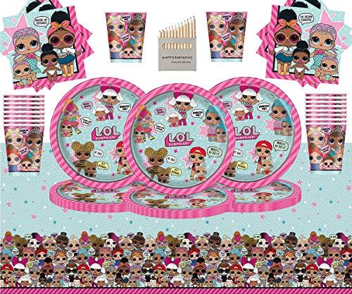 Enfants Surprise Articles De Fête pour Enfants Anniversaire Lol Décorations De Table De Fête Fêtes sur Le Thème Vaisselle Jetable Set-16 Personnes