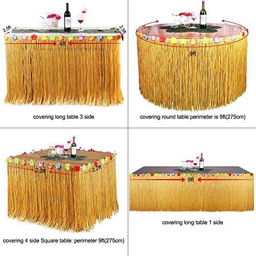 OurWarm-Hawaiano-Luau-Faldones-de-mesa-9-pies-de-hierba-Faldones-de-mesa-con-Hibiscus-flores-barbacoa-Tropical-Garden-Beach-Summer-Tiki-partido-decoraciones-Gold