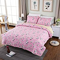 WYFC Cómodo edredón de algodón Liso 100% algodón Acolchado Floral c 180 * 200cm