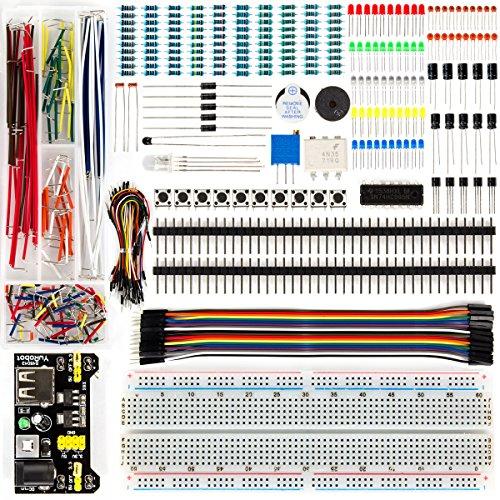 LUWANZ Starter Set mit Breadboard für Arduino, 438tlg. Starter Kit für Raspberry Pi, Arduino UNO R3, MEGA2560, NANO, elektronik Bausatz mit Stromversorgungsmodul, lötfreie Jumperkabel, Widerstand etc