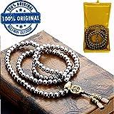 108 Perles de prière bouddhistes chaîne d'autodéfense extérieure, auto défense collier en acier inoxydable défense arme (Acier Inoxydable Complet)