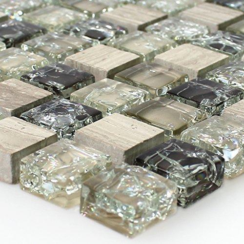 Glas Naturstein Mosaik Fliesen Bruchglas Grün Grau