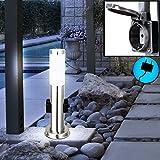Steh Leuchte Veranda Edelstahl Garten IP44 Beleuchtung 2x Steckdose Globo 3158K