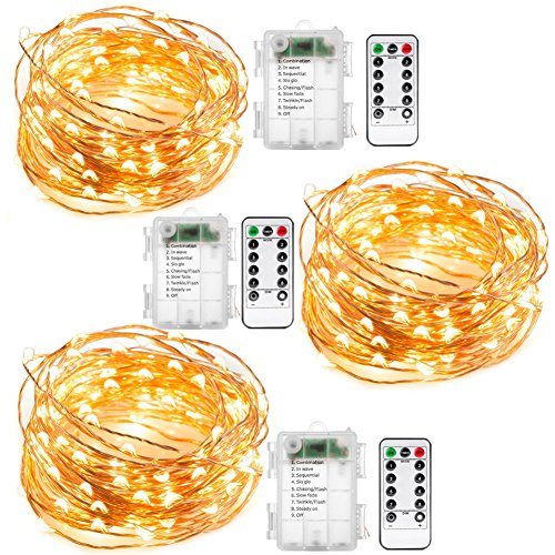Galleria fotografica Fairy string Lights, 3set 6,1m 60lucine a LED a batteria impermeabile filo di rame luci con telecomando, 8modalità luce decorativa per camera da letto casa centrotavola natalizio festa di nozze & # xFF08; bianco caldo)