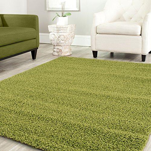 Teppich-home stella shaggy tappeto colore pelo lungo tappeti moderni per soggiorno camera letto tinta unita verde, 140x200 cm