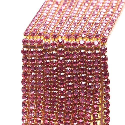 Healifty Strassband Kristall Band für Schmuck Nähen Handwerk DIY 2mm 10 mt (Rosig)
