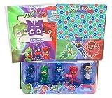 Kit PJ Masks Gadget Compleanno Bambini Allestimento Maschere e Tovaglia Super Pigiamini per la Festa - Addobbi Personaggi Supereroi Costumati Su La Torta - Set Party Decorazioni per Bimbi -- Ergogo