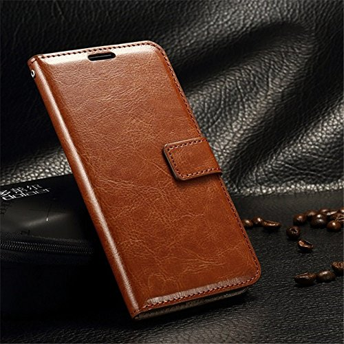 Nkarta Stylish Vintage Retro Leather Wallet Diary Stand Flip Cover Case for Motorola Moto Z Play - Brown