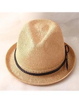 LVLIDAN Sombrero para el sol del verano Lady Anti-Sol Playa sombrero de paja estilo Inglaterra amarillo
