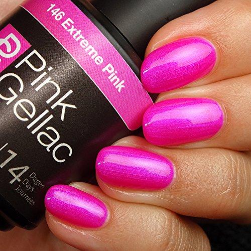 Pink Gellac 146 Extreme Pink UV Nagellack. Professionelle Gel Nagellack shellac für mindestens 14 Tage perfekt glänzende Nägel