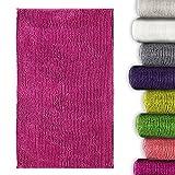 Chenille Badematte Coral   moderner Microfaser Badvorleger in Trendfarben   ÖKO TEX Standard 100   Komfortgröße 50x80 cm für Badezimmer   Pink