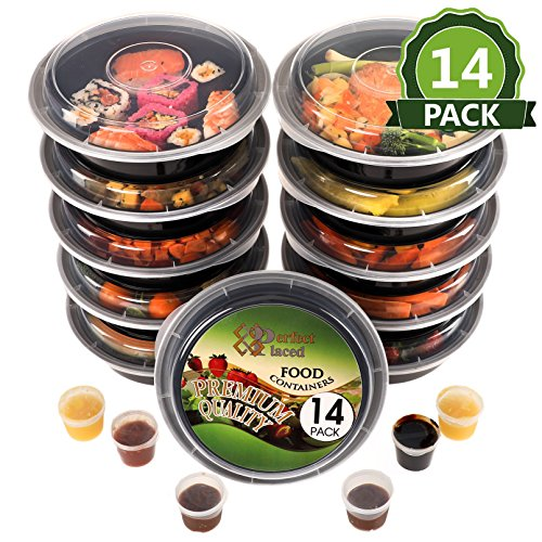 [14Stück] rund BPA-frei Mahlzeit Prep Container. Wiederverwendbar Kunststoff Lebensmittel Behälter mit Deckel. Stapelbar, Mikrowelle, Gefrierschrank & spülmaschinenfest Bento Lunch Box Set + Ebook [680ml] + Gratis 14Sauce/Dressing Tubs & 14Etiketten