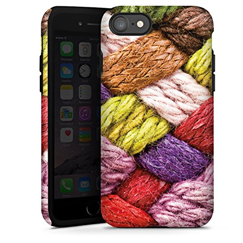 Apple iPhone X Silikon Hülle Case Schutzhülle Wolle Look Stricken Bunt Tough Case glänzend