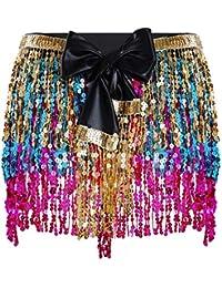 FEESHOW Sexy-Femme Mini Jupe Frange Wetlook Brillant en Cuir Verni Jupe  Paillettes bohémien de Danse +Noeud Papillon+Ceinture pour Sorée… b96c003975c