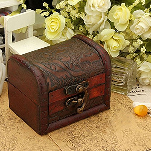 Vintage Metal Lock Wooden Storage Box Jewelry Treasure Organizer Chest Case Gift Box