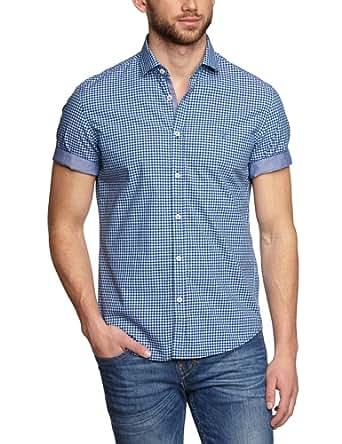 Marc O'Polo Herren Regular Fit Freizeithemd 423143041010, Gr. Large, Kragenweite: 41 cm, Blau (deep blue)