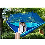 Camping Hammock-Zmsj-Portable Travel Outdoor Hammock Hanging Bed with Mosquito Net, Ultralight & Quality Comfort for Camping, Hiking, Travel, Outdoors and Backpacking (Blau) (Blau)