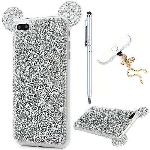 iPhone 7 Plus Cover Silicone 3D Strass Bling Glitter Brillanti, iPhone 8 Plus Custodia Morbida TPU Flessibile Gomma - MAXFE.CO Case Ultra Sottile Cassa Protettiva per iPhone 7 Plus / iPhone 8 Plus - R Argento