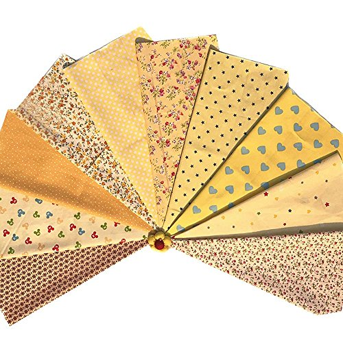 Souarts 10 Stück Stoffpakete DIY Bohemien Stil Kleine Blumen Deko Baumwolltuch Patchwork Stoffe Paket Stoffset 20x30cm