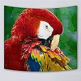 XPY-Tapestry Tapices/Tapiz/colgaduras Hippie/Wall Art Hanging/Home Decorations for Living Room Dormitorio Dormitorio/Picnic Toalla de Playa Sheet Table Cloth-Loro Cabeza roja, 150x130cm