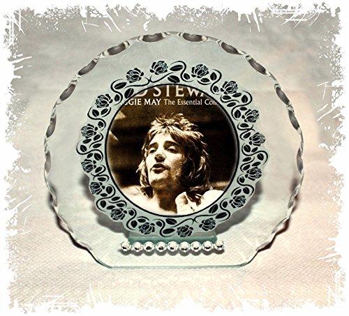 mit Rod Stewart Foto Schnitt Glas rund Rahmen Plaque besonderen Anlass Custom Made Limited Edition. (Stewart-foto Rod)